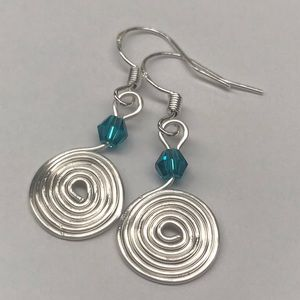 Jewelry - Silver Swirl Earrings Teal Beaded Accent